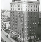 An aerial shot of the Carolina Theater and Hotel circa 1954. Courtesy of Scott Spencer.