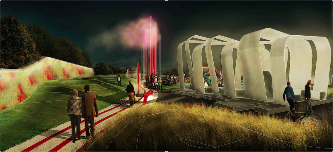 A rendering of the new park at night. Courtesy of STITCH Design Shop.